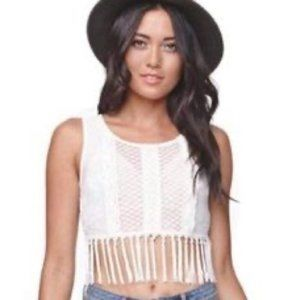 Kendall & Kylie pacsun white lace fringe crop top